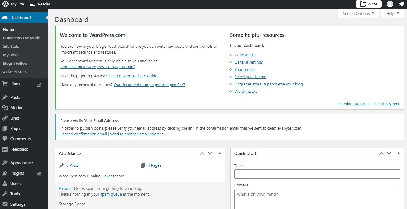 dashbord WordPress